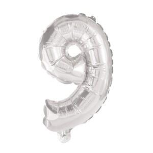 Zahlenballon Silber 9 ca. 86 cm