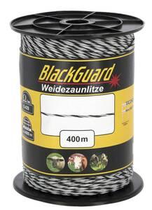 Weidezaunlitze, 400 m, weiß/schwarz  BlackGuard