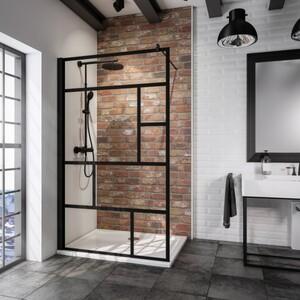 Schulte Duschwand Walk In Black Style Alexa Style 2.0 1-teilig ,  120 x 200 cm , inkl. fixil-Beschichtung