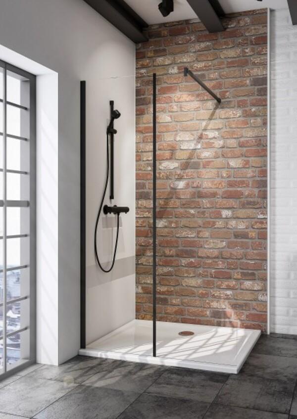 Schulte Duschwand Walk In Loft Black Style Alexa Style 2.0 2-teilig ,  120 x 200 cm, inkl. fixil-Beschichtung
