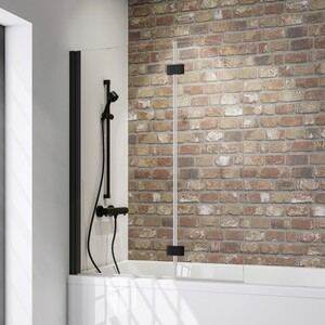 Schulte Komfort Badewannefaltwand Black Style 2-teilig ,  800 mm x 1400 mm, klar, inkl. fixil-Beschichtung