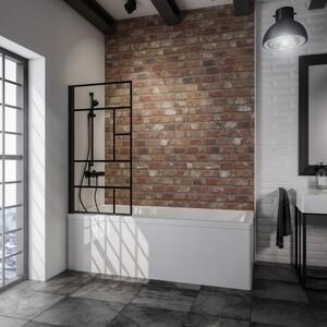 Schulte Komfort Badewannefaltwand Black Style 1-teilig ,  800 mm x 1400 mm, Dekor Atelier 1, inkl. fixil-Beschichtung