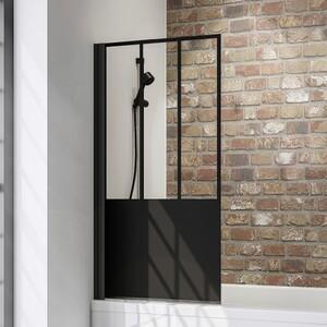 Schulte Komfort Badewannefaltwand Black Style 1-teilig ,  800 mm x 1400 mm, Dekor Atelier 5, inkl. fixil-Beschichtung