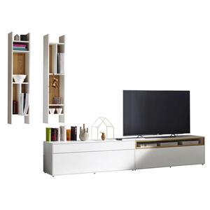 Now by Hülsta Wohnwand weiß, eichefarben , Now! Easy , 1 Schubladen , 334x162x44.8 cm , lackiert,Nachbildung , Beimöbel erhältlich , 000350003026