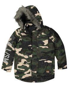 Jungen Parka mit Camouflage-Muster - wattiert