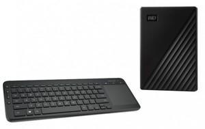 WD Festplatte 1 TB + Microsoft Tastatur All in One ,  MyPassport 1TB + All-in-One Media Keyboard