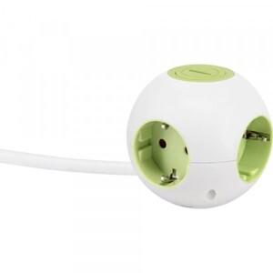 GAO Mehrfachsteckdose Power Globe grün, 4 Steckdosen, Steckdosenwürfel