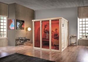 Weka Design-Sauna Kemi Panorama 3 mit Glastür, 2 Fenstern und Saunaofen