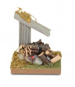 Riffelmacher Holz-Lagerfeuer mit Vordach LED Holz, 8,5 cm