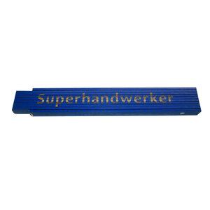 """Meterstab """"Superhandwerker"""", versch. Sprüche, 2m, blau"""