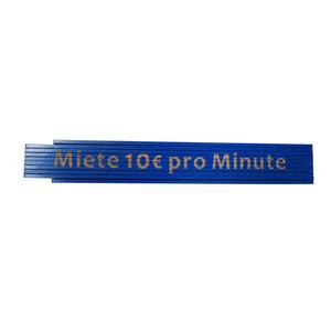 """Meterstab """"Miete 10 Euro pro Minute"""", 2m, blau"""
