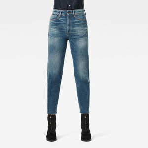Janeh Ultra High Mom Raw Edge Ankle Jeans