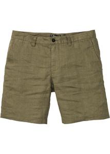 Leinen-Chino-Longshorts, Regular Fit