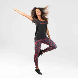 T-Shirt Fitness Dance Damen schwarz