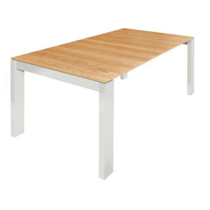 Now by Hülsta Esstisch eiche furniert rechteckig weiß, eichefarben , Now! Dining , Holz , 100x75x200 cm , lackiert, Natur,Echtholz, Nachbildung , ausziehbar, in verschiedenen Größen erhältlich,