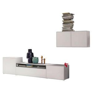 Now by Hülsta Wohnwand grau, weiß , Now! Easy , 308x156x44.8 cm , lackiert,Nachbildung , Beimöbel erhältlich , 000350003034