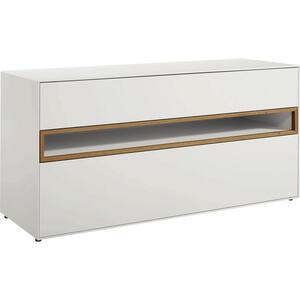 Now by Hülsta Lowboard weiß, eichefarben , Now! Easy , 2 Schubladen , 128x64x44.8 cm , lackiert,Nachbildung , Beimöbel erhältlich , 000350003010
