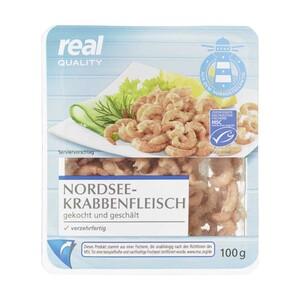 Nordseekrabbenfleisch aus MSC-zertifiziertem Wildfang, jede 100-g-Packung