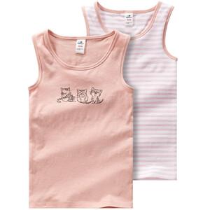 2 Mädchen Unterhemden mit Katzen-Motiv