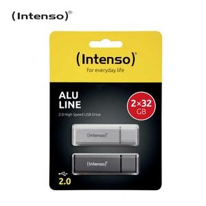 USB-Stick ALU LINE · 2.0 High Speed USB Drive · in den Farben Anthrazit und Silber  *Einklinker: 2 x 32 GB
