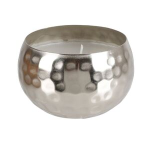 Kerze in Metallschale 9x6,5cm Silber