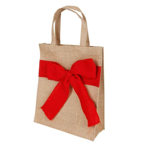 Jute-Tasche mit roter Schleife 26x30x10cm