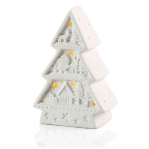 LED-Tannenbaum Keramik in Weiß 10,5 x 6,5 x 14,6 cm