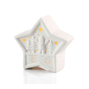 LED-Stern Keramik in Weiß 11,5 x 5 x 10,5 cm