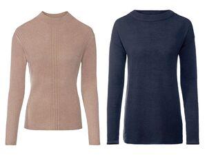 ESMARA® Pullover Damen, hoher Kragen, mit Viskose