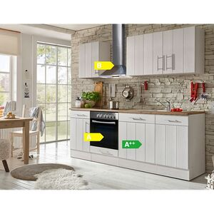 Respekta Premium Küchenzeile BERP220LHWC 220 cm Weiß-Lärche Nachbildung
