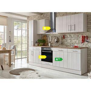 Respekta Premium Küchenzeile BERP250LHWC 250 cm Weiß-Wildeiche Nachbildung