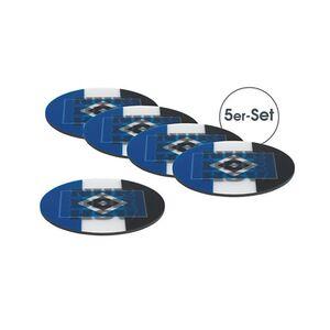 HSV Untersetzer 3D 5er-Set 10,5x10,5cm blau/weiß/schwarz mit Logo