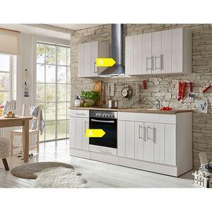 Respekta Premium Küchenzeile BERP210LHWC 210 cm Weiß-Lärche Nachbildung