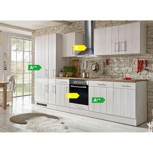 Respekta Premium Küchenzeile BERP310LHWC 310 cm Weiß-Lärche Nachbildung