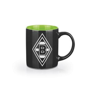 BMG Kaffeebecher 350ml schwarz/weiß/grün mit Logo