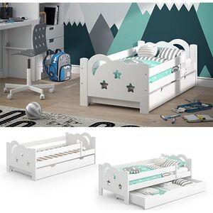 VitaliSpa Kinderbett Sari 140x70cm weiß mit Schubladen Jugendbett Rausfallschutz ohne Matratze