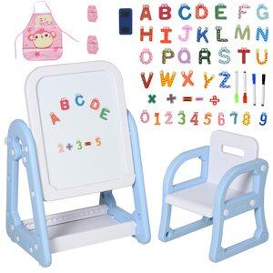 Homcom Kindertafel mit Stuhl und Malzubehör blau/weiß