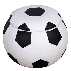 Homcom Kinderhocker im Fußball-Design weiß/schwarz