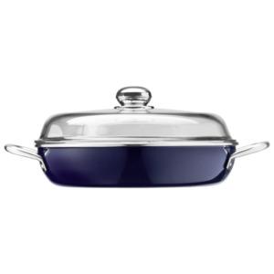 Silit Brat- und Servierpfanne mit Glasdeckel 28cm blau / schwarz