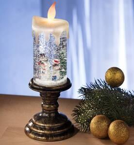 LED Glitter Weihnachtskerze mit Schneemann Motiv Wetelux