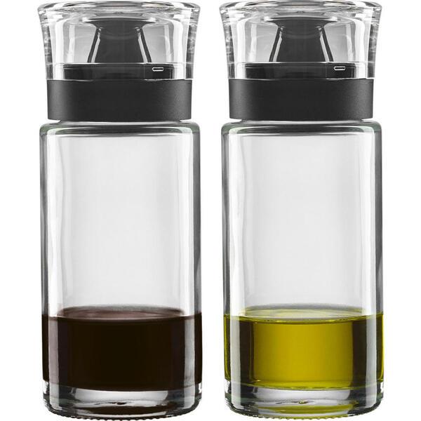 Leonardo Essig-/ölflasche , 037716 , Klar, Schwarz , Glas , 11.9x14.8x61 cm , klar , Deckel, Ausgießer, einfaches Dosieren , 0038130195