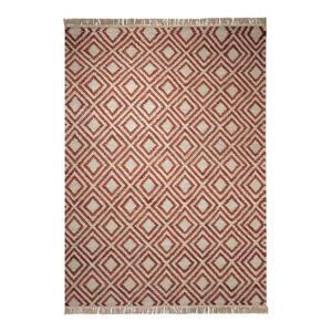 Esprit Handwebteppich 60/110 cm rot, sandfarben , Simple , Textil , Abstraktes , 60x110 cm , für Fußbodenheizung geeignet, in verschiedenen Größen erhältlich , 007606034752
