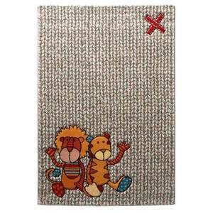 Sigikid Kinderteppich 80/150 cm grün, orange, rot, beige , Sk-21966 , Textil , Tier , 80x150 cm , Frisée, Heatset , für Fußbodenheizung geeignet, in verschiedenen Größen erhältlich, für Hauss