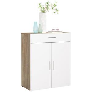 Xora Kommode weiß, eichefarben , Santos , Holzwerkstoff , 3 Fächer , 1 Schubladen , 80x98x40 cm , Hochglanz,Nachbildung , erweiterbar, Typenauswahl, in verschiedenen Holzdekoren erhältlich,erweite