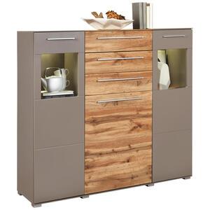 Livetastic Highboard grau, eichefarben , Binz , Holzwerkstoff , 5 Fächer , 3 Schubladen , 140x126x40 cm , matt,Nachbildung , Beimöbel erhältlich , 002737032204