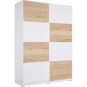 Hom`in Schwebetürenschrank 2-türig weiß, eichefarben , Spectre -Hom In- , Holzwerkstoff , 150x213x62 cm , matt,Nachbildung , Beimöbel erhältlich , 000003000616