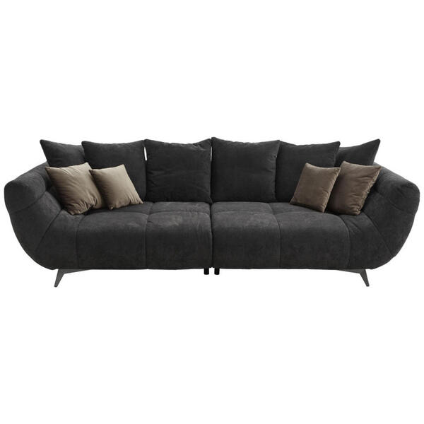 Hom`in Megasofa webstoff schwarz , Fellini II   -Hom In- , Textil , 2-3-Sitzer , 300x95x133 cm , gebürstet, matt,Mikrofaser,Webstoff , Stoffauswahl , 000647004301