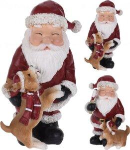 Dekofigur Weihnachtsmann mit Hund
