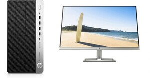 HP PC Elite Desk 705 G4 + Monitor 27w ,  Ryzon 5 Pro, 16 GB, 512 GB, RX Vega 11, 68,58 cm (27 Zoll)