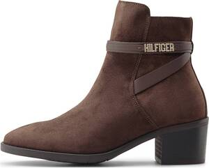 Tommy Hilfiger, Velours-Stiefelette Block Branding in dunkelbraun, Stiefeletten für Damen